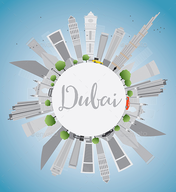 Dubai City Skyline with Gray Skyscrapers - Buildings Objects