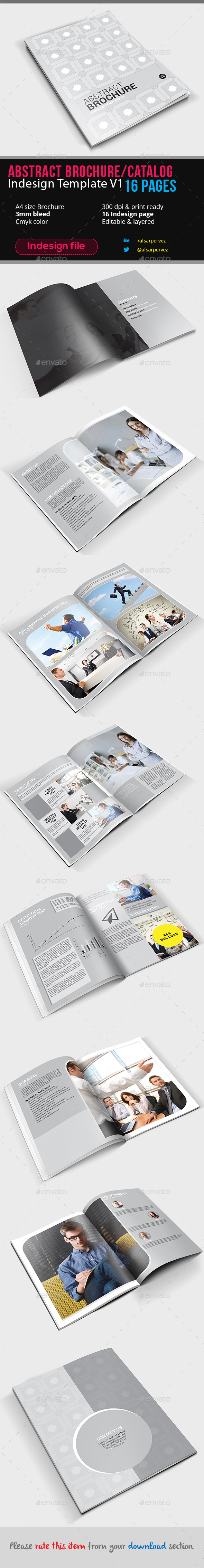 Abstract Brochure Catalog Indesign Template V1 – 16 Pages - Corporate Brochures