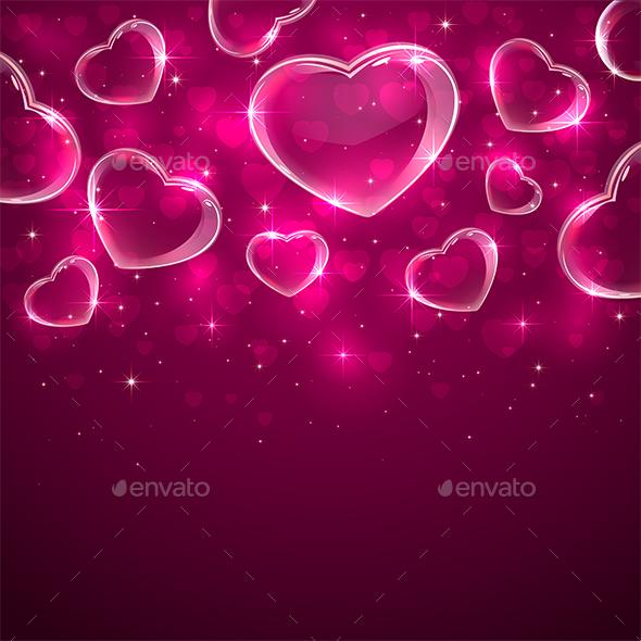 Transparent Hearts on Pink Background - Valentines Seasons/Holidays