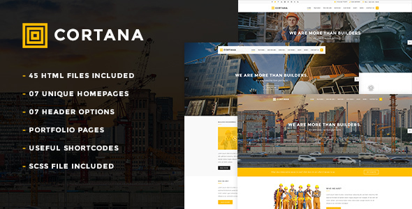 Cortana – Construction HTML5 Template