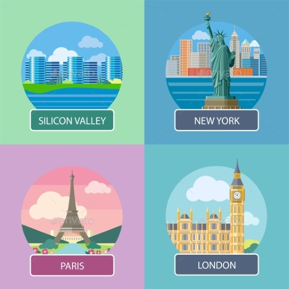 London, Silicon Valley, New York And Paris - Travel Conceptual