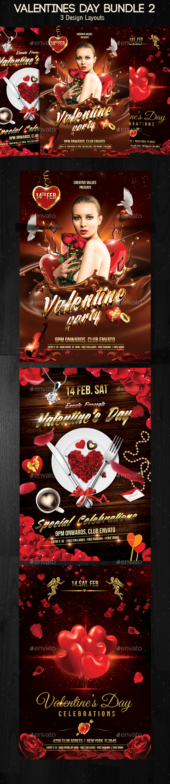 Valentines Day Flyer Bundle v2 - Print Templates
