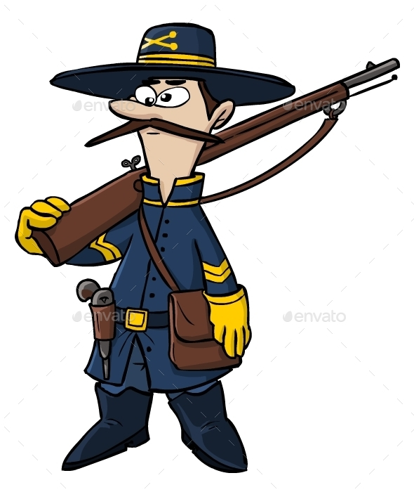 Cartoon American Civil War Soldier - People Characters