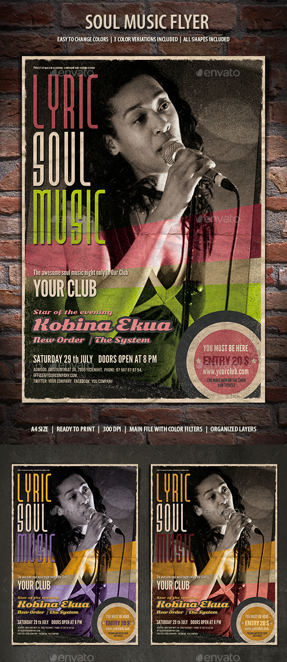 Soul Music Flyer - Clubs & Parties Events