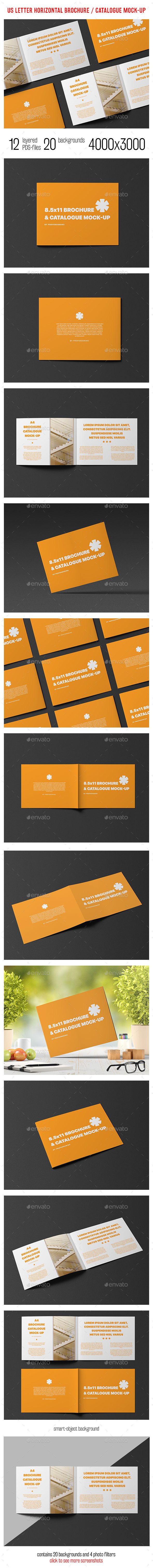 US Letter Horizontal Catalogue / Brochure Mock-Up - Brochures Print