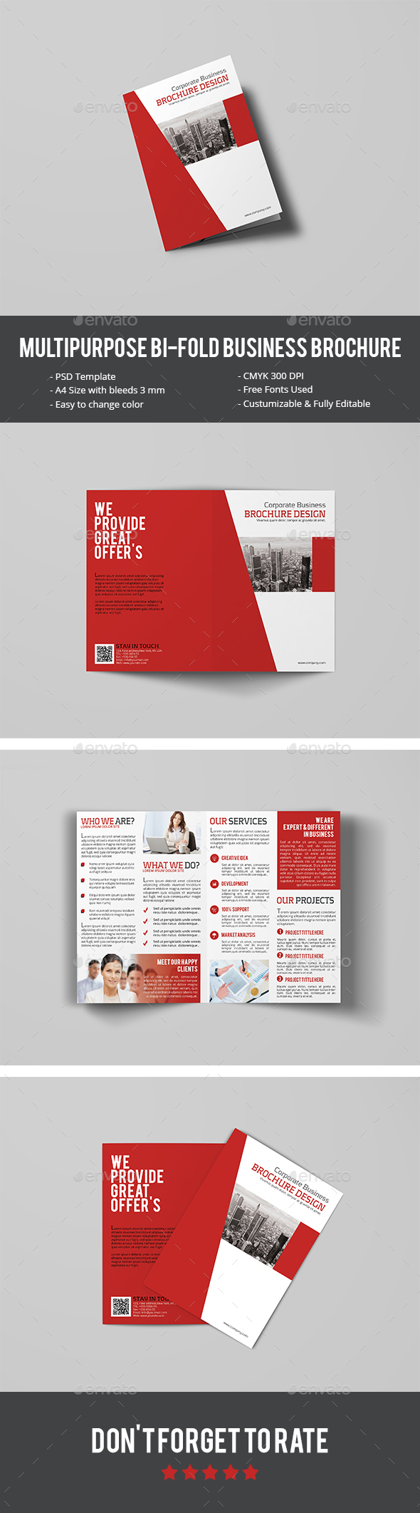 Multipurpose Bi-Fold Business Brochure - Corporate Brochures