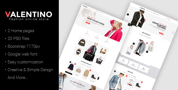 Valentino - Multipurpose eCommerce PSD Template - Retail PSD Templates