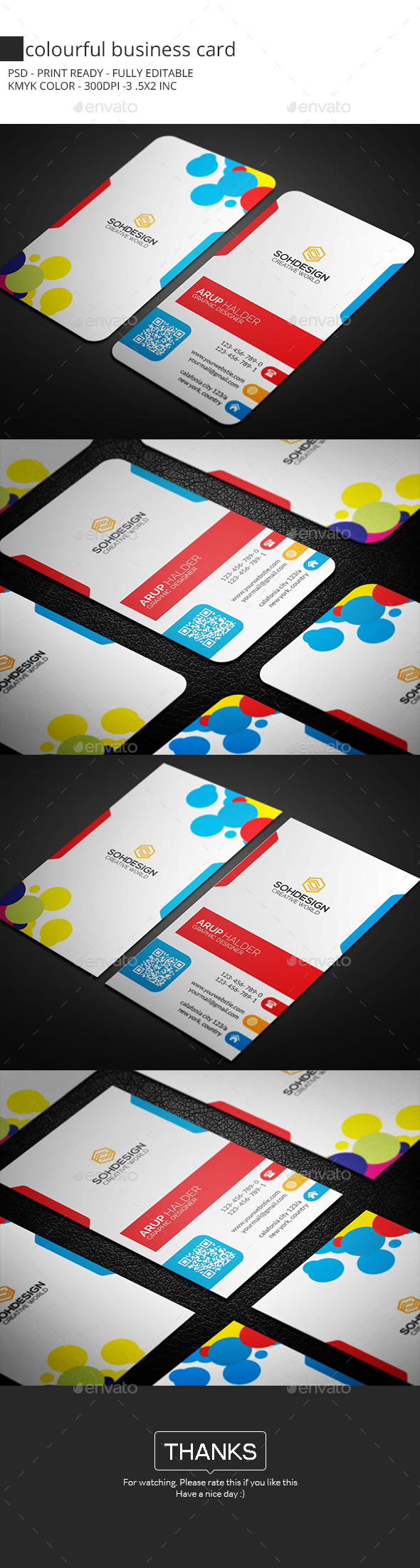 Colourful Business Card - Business Cards Print Templates