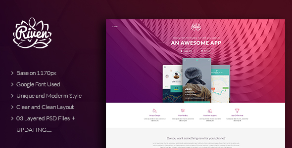 Riven – One Page App Landing PSD Template