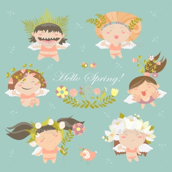 Set Of Cute Spring Angels - People Characters