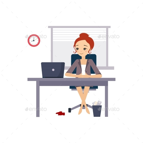 Woman At Office. Daily Routine Activities Of Women - Concepts Business