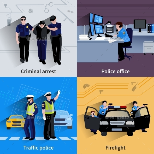 Policeman People 2X2 Design Compositions - People Characters