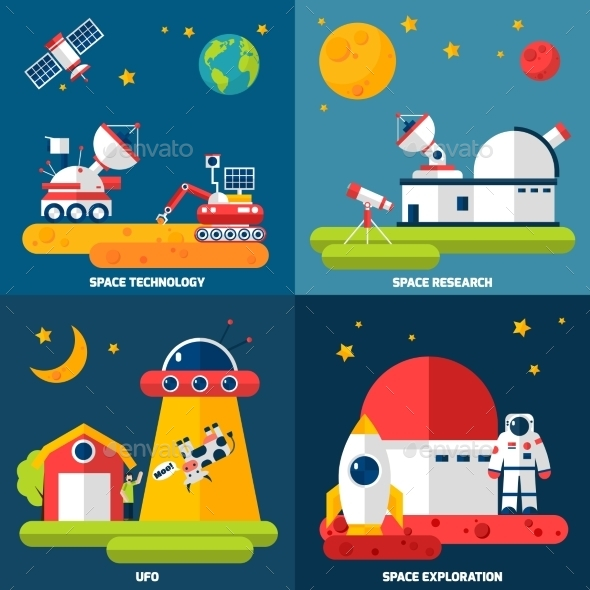 Space Exploration 4 Flat Icons Square - Technology Conceptual