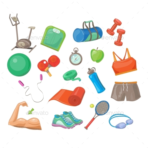 Sports Accessories, Vector Illustration Set - Sports/Activity Conceptual