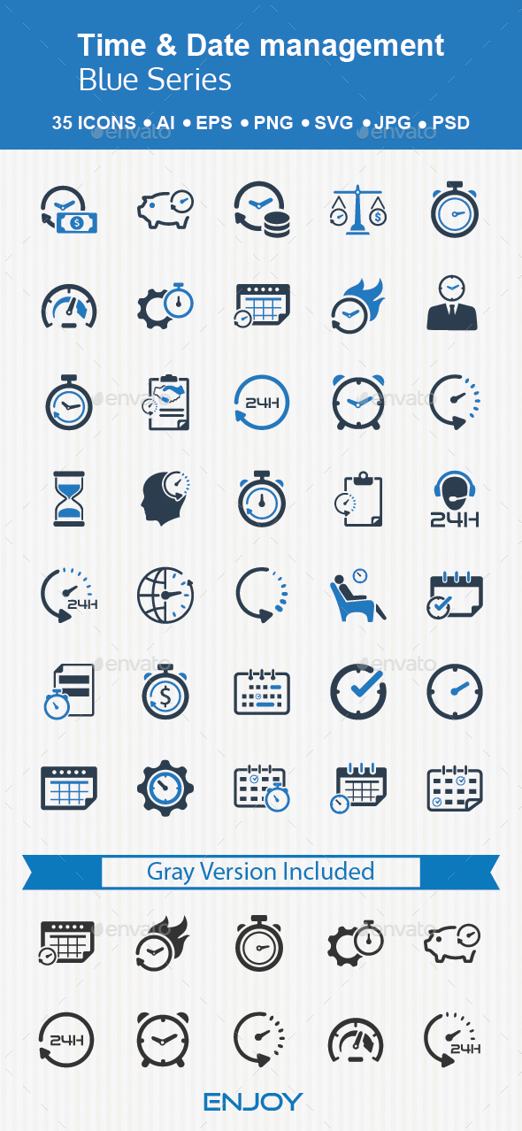 Time & Date Management - Business Icons