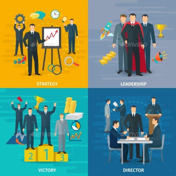 Leadership Concept Icons Set  - Concepts Business