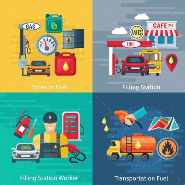 Fuel Station Concept Icons Set  - Industries Business