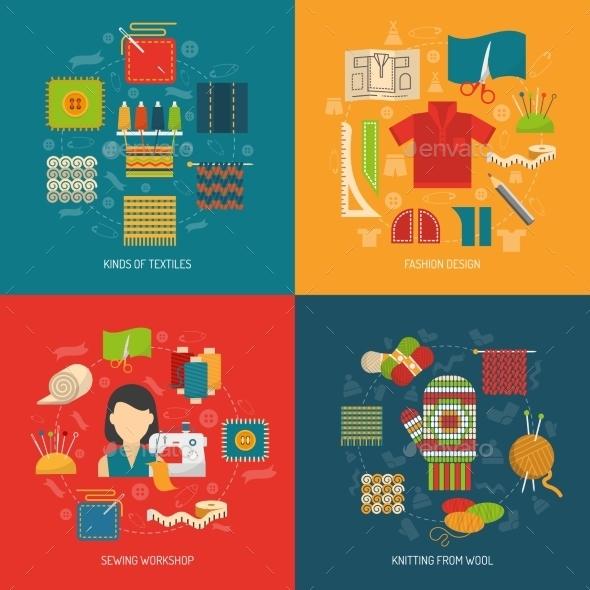 Textile Concept Set - Conceptual Vectors