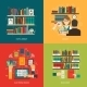 Library Concept 4 Flat Icons Square - GraphicRiver Item for Sale