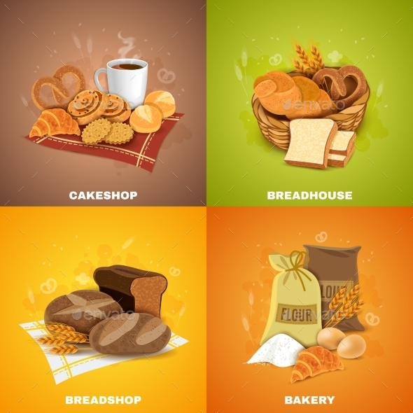Bakery Breadshop 4 Flat Icons Square - Miscellaneous Conceptual