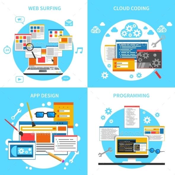 Web Development Concept Icons Set  - Web Technology