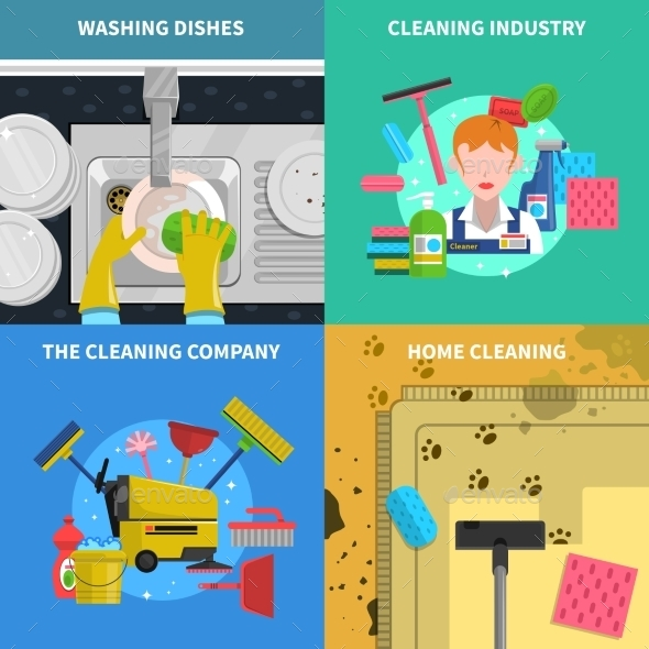 Cleaning Concept Icons Set  - Man-made Objects Objects