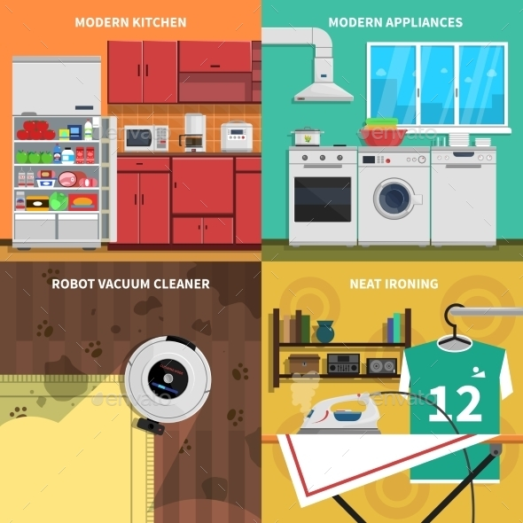 Household Appliances Concept Icons Set  - Man-made Objects Objects