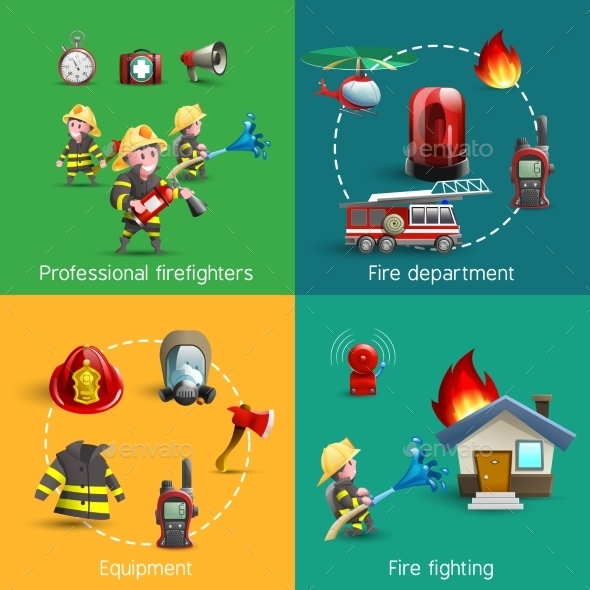 Fire Fighters 4 Icons Square Composition - Miscellaneous Vectors