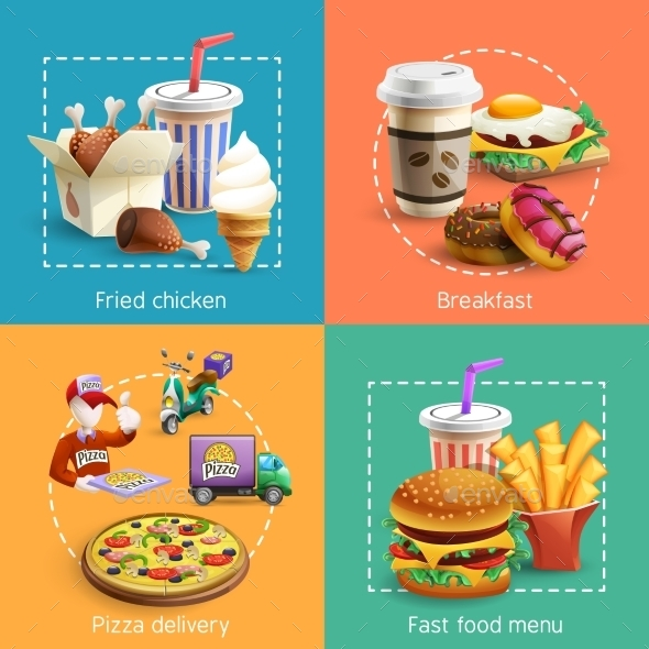 Fastfood 4 Cartoon Icons Square Composition - Food Objects