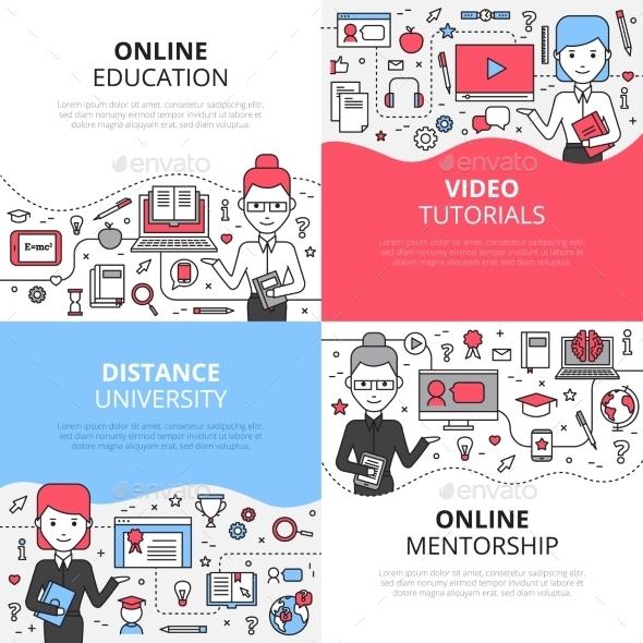 Online Education Design Concept Set - Technology Conceptual
