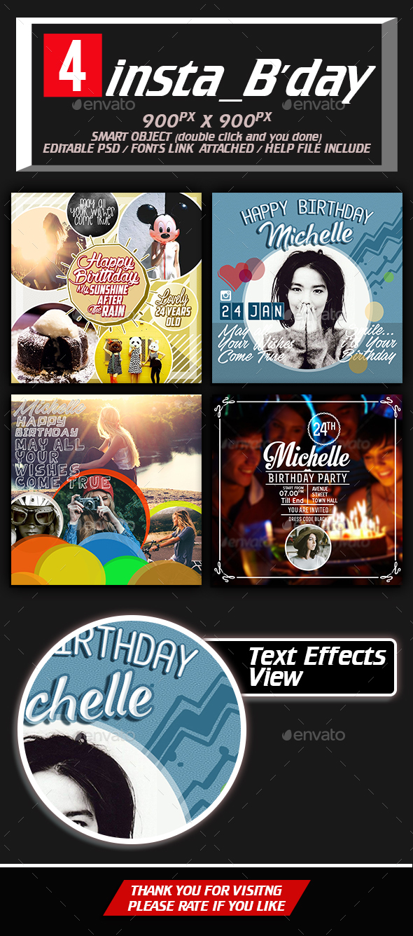 Insta Birthday - Social Media Web Elements