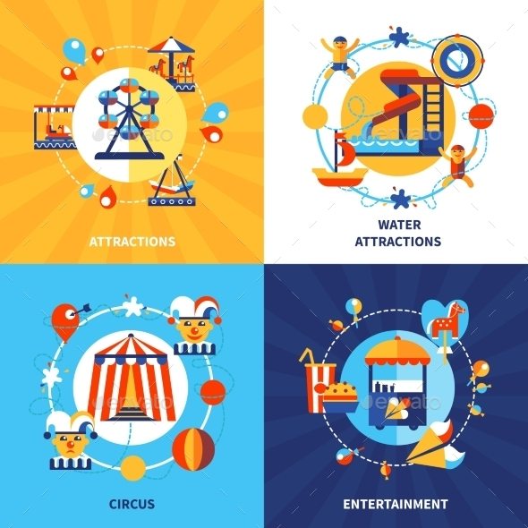 Amusement Park 4 Flat Icons Square  - Conceptual Vectors