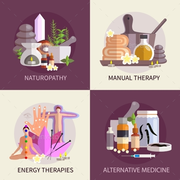 Alternative Medicine Design Concept Set - Health/Medicine Conceptual