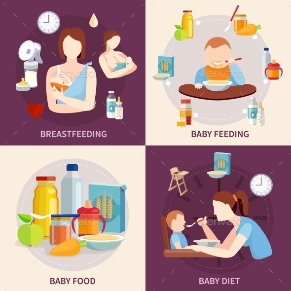 Baby Feeding 4 Flat Icons Square - Food Objects