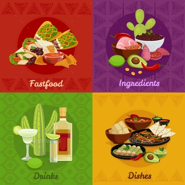 Mexican Foof 4 Flat Icons Banner - Food Objects
