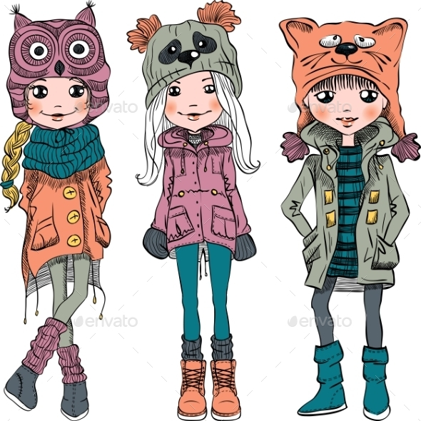 Vector Set Cute Girls In Funny Hats  - People Characters