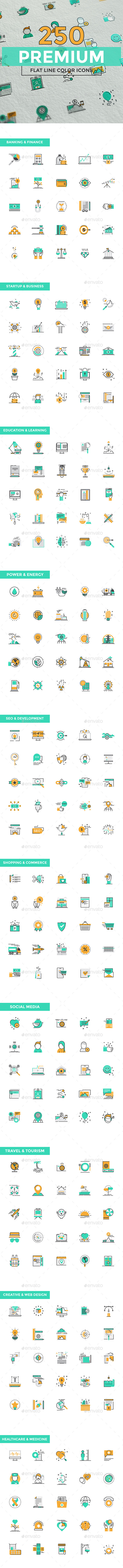 Set of Modern Color Line Design Icons - Web Icons