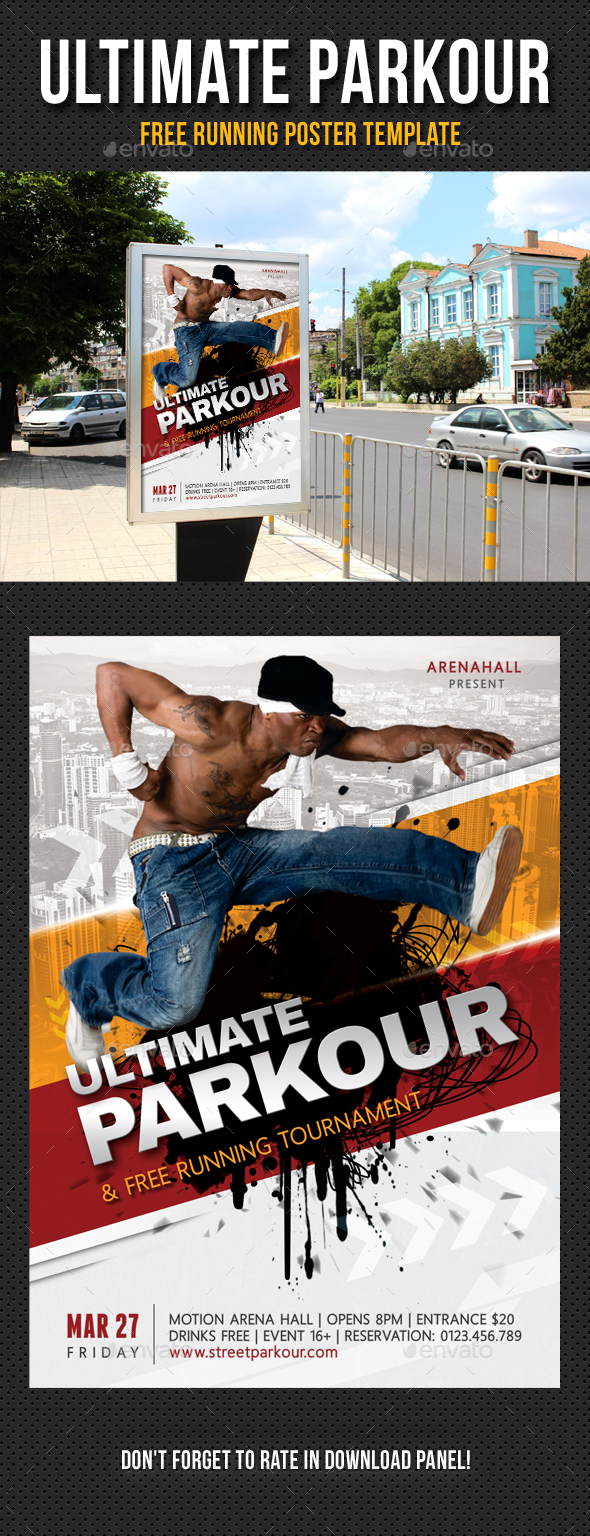 Ultimate Parkour Free Running Poster Template 01 - Signage Print Templates