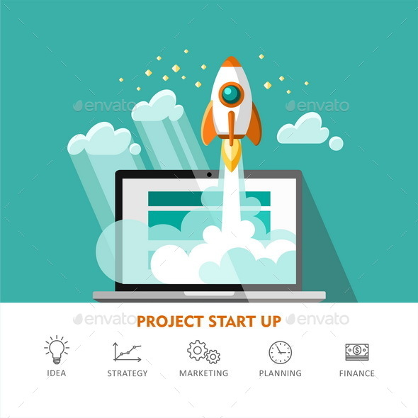 Concept of New Business Project Start Up Development and Launch a New Innovation Product - Concepts Business