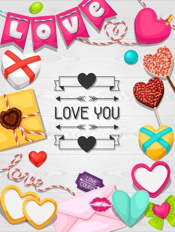 Greeting Card With Hearts, Objects, Decorations - Valentines Seasons/Holidays