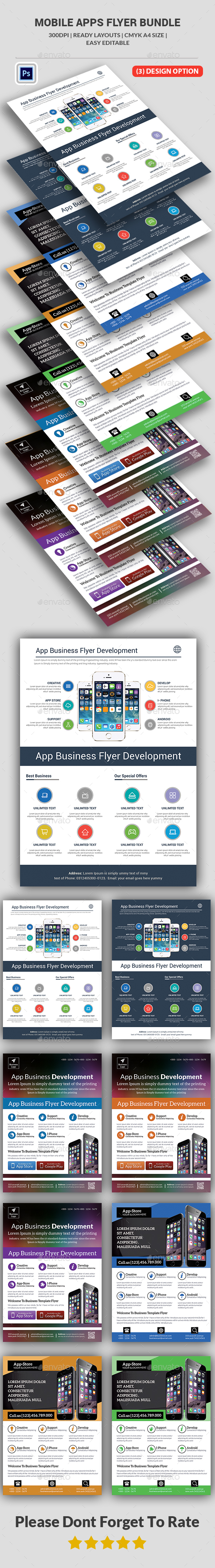 Mobile App Flyers Bundle - Corporate Flyers