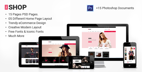 The Shop | e-commerce PSD Template - Fashion Retail