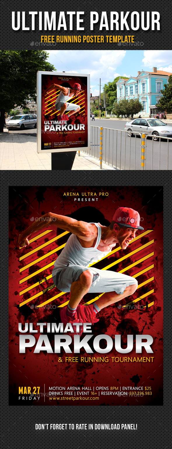 Ultimate Parkour Free Running Poster Template 02 - Signage Print Templates