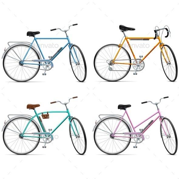 Vector Bicycle Set - Sports/Activity Conceptual