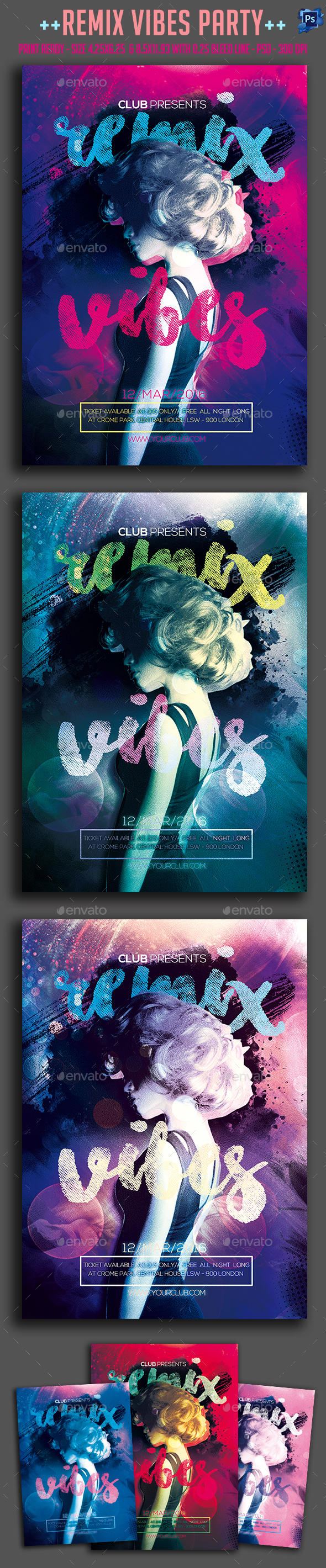 Remix Vibes Party Flyer - Clubs & Parties Events