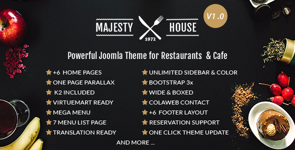 Majesty Multi-Cuisine Restaurants Joomla Template
