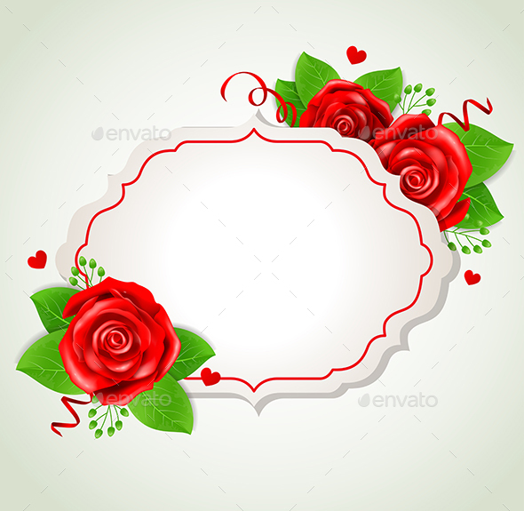 Romantic Banner with Red Roses - Backgrounds Decorative