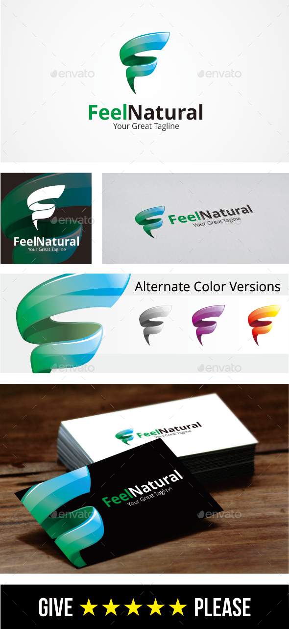 Letter F Logo / Feel Natural -  Logo Template - Letters Logo Templates
