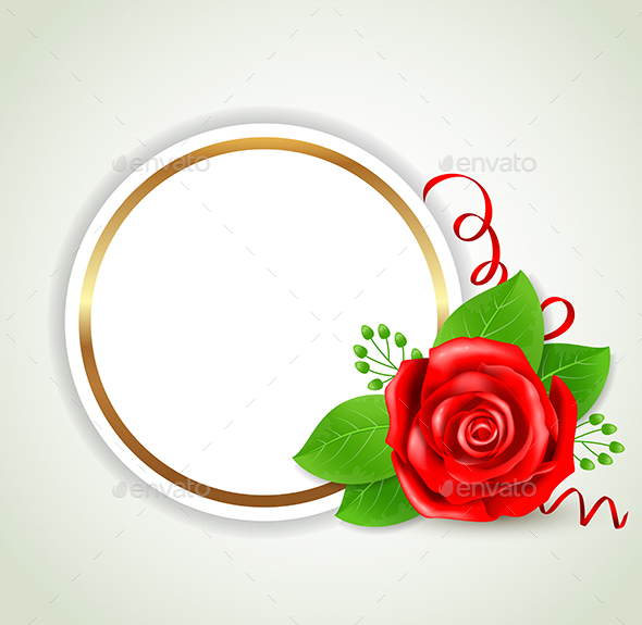 Round Label with Red Rose - Backgrounds Decorative