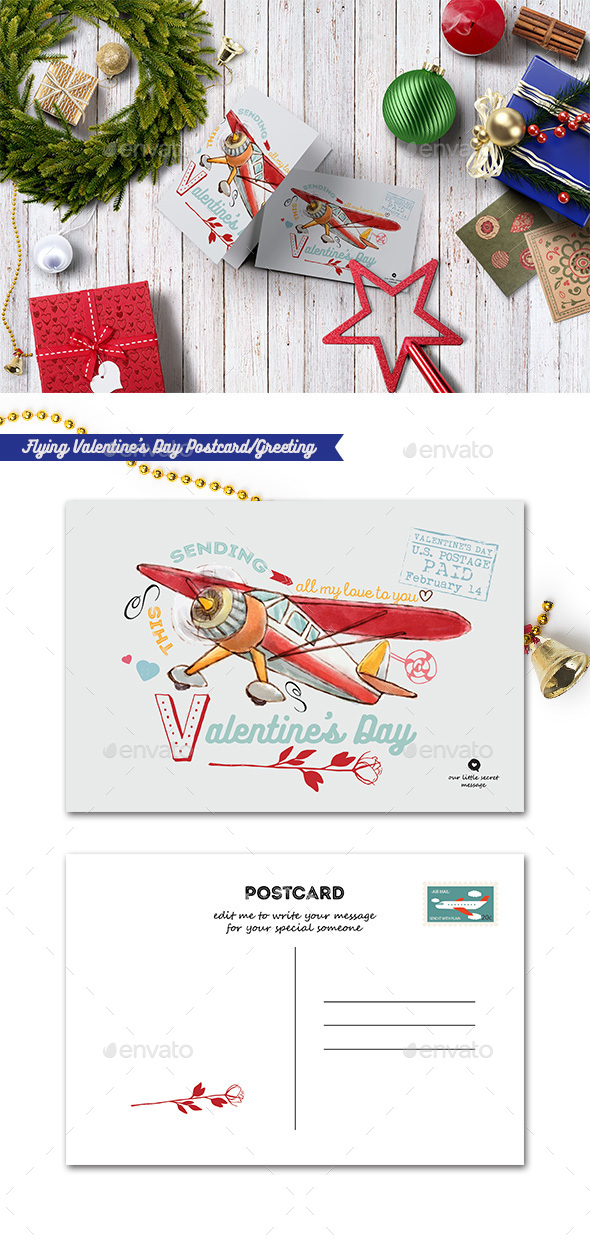 Flying Valentine's Day Postcard/Greeting - Cards & Invites Print Templates